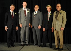 2011 Boulder County Business Hall of Fame Inductees: Pictured left to right: John Fischer, John C. Flanders, Dan Gust, Brad Emrick and Dan Souders. Not shown is R. David Hoover. Photo courtesy of Lewis Geyer, Longmont Daily Times-Call.