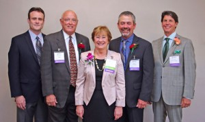 2013 Boulder County Business Hall of Fame Inductees: Pictured left to right: Ryan Chapman, representing Tom Chapman – First MainStreet Insurance); Mark Retzloff – Alfalfa's; Linda Cain – Cain Travel; Scott Nix – Nixcavating, and Court Dixon – Kinsley & Company.