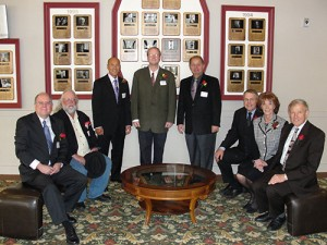 2010 Boulder County Business Hall of Fame Inductees: Pictured left to right: Jeremy Martin, Doug Larson, Hung Tran, Kevin Sipple, George Karakehian, Butch Vernon, Bev Vernon and Marvin Caruthers.
