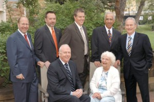 2006 Boulder County Business Hall of Fame Inductees: Top row from left to right - George Heinrichs and Stephen Meer, Stephen Tebo, Jesse Aweida, Dave Hight. Bottom Row from left to right - Vanderlynn Stow and Marguerite Peoples. Photograph courtesy of the Boulder County Business Report.